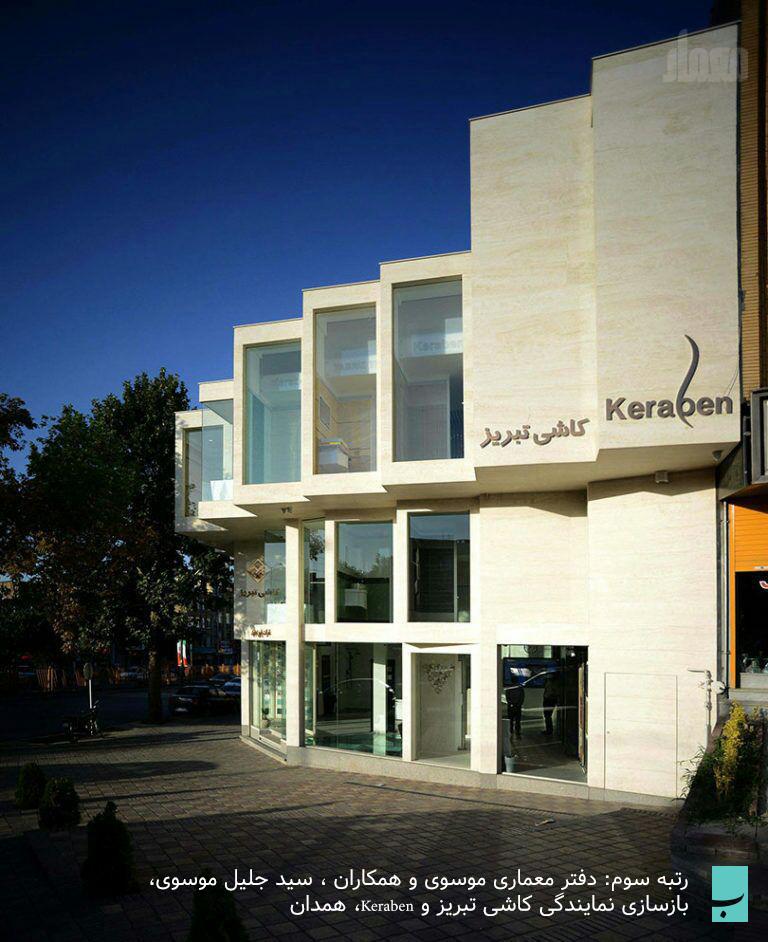 رتبه سوم: دفتر معماری موسوی و همکاران ، سید جلیل موسوی، بازسازی نمایندگی کاشی تبریز و Keraben، همدان